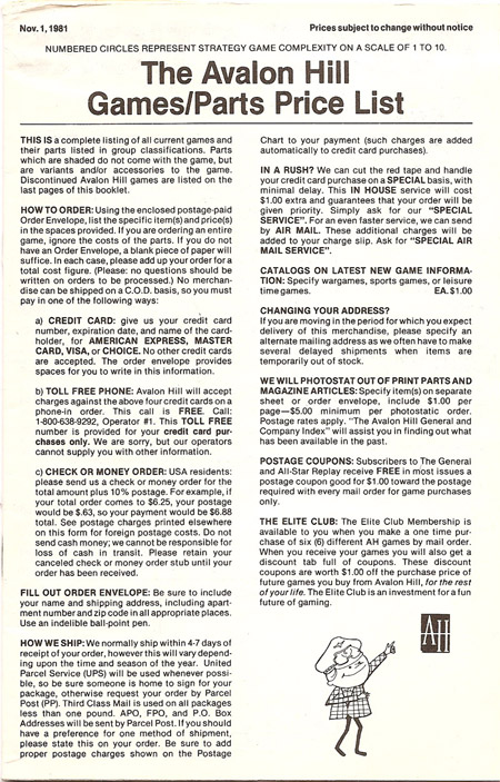1981 Avalon Hill Games Catalog